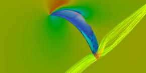 Analyse: Geschwindigkeiten im Mittelteil mit Strömungsablösung am Heck und Randwirbel